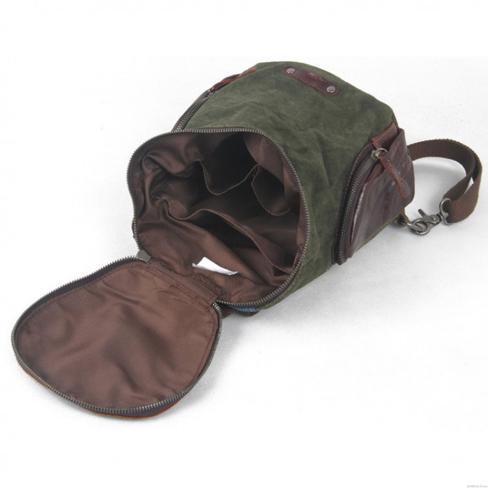 Street Casual Solid Linen Leather Zipper Bucket Travel Shopping Backpack