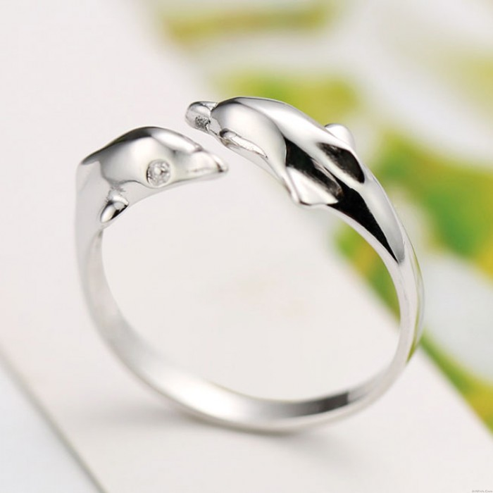 Romantic Double Dolphin Open Ring Lover Silver Animal Ring