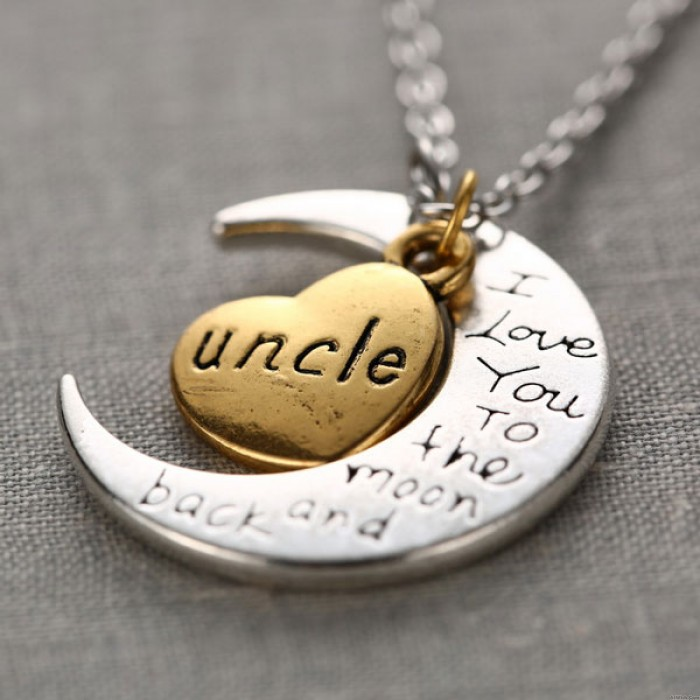Family Lettering Crescent Moon Heart Pendant Original Sweater Necklace