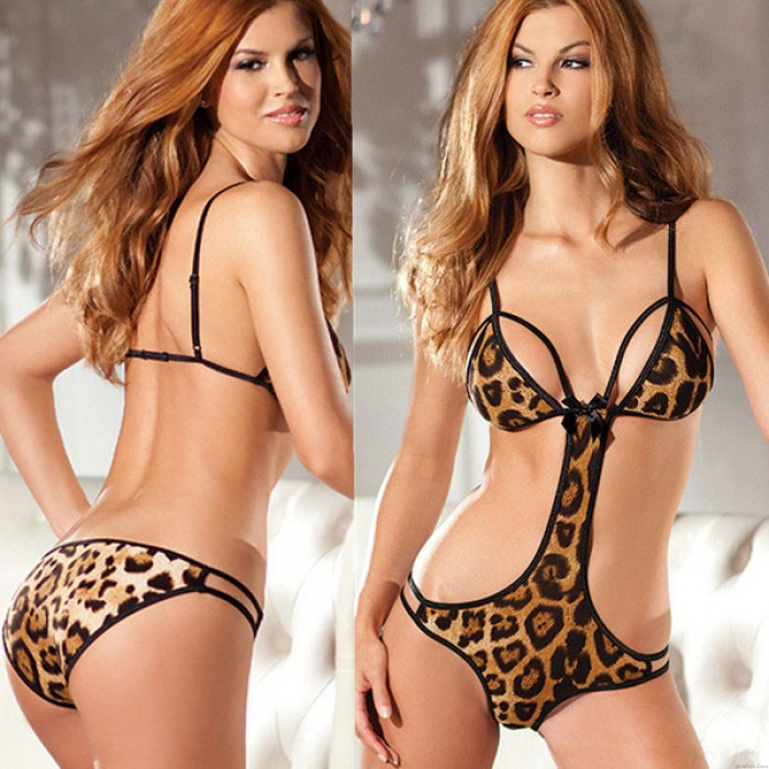 Sexy V-neck Leopard  Front Hollowed-out Backless Bikinis Jumpsuits Lingerie