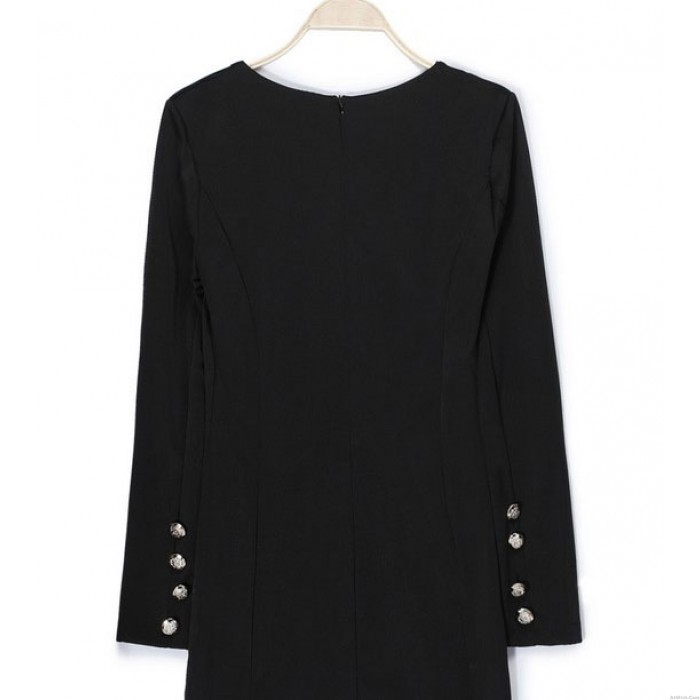 OL Style Double-breasted Long-sleeved Slim Dress
