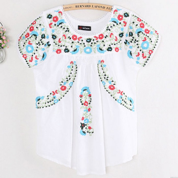 Women's Short Sleeves Folk Style Colourful Flowers Embroidery Shirt