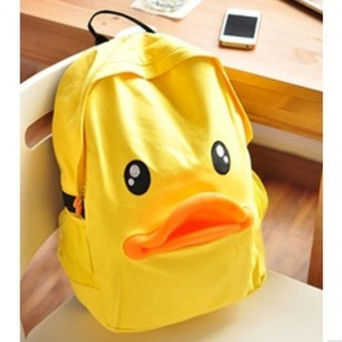Funny Lovely Yellow Duck Canvas Backpack