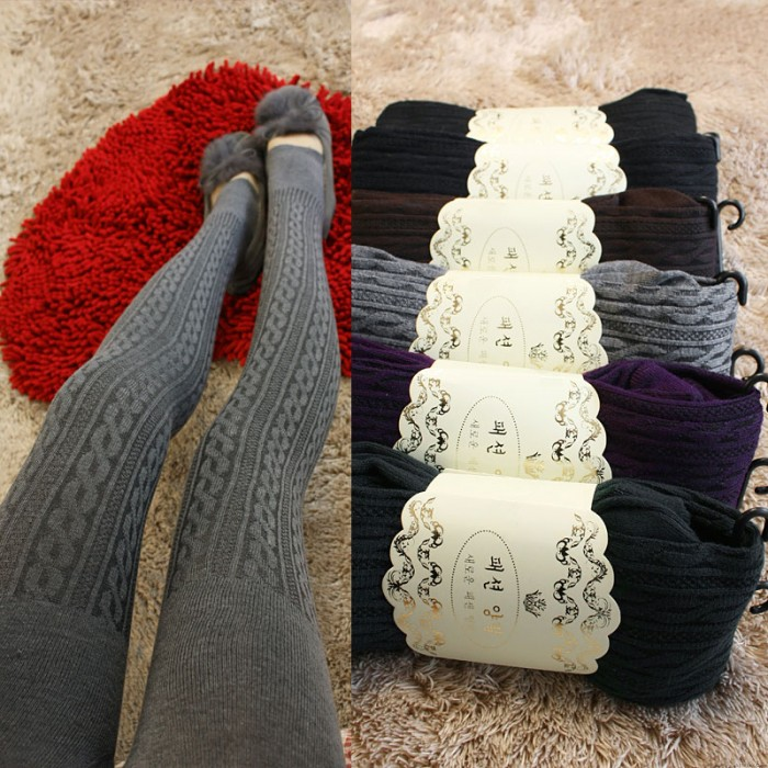 Fashion Vertical Stripes Twist Wool Leggings