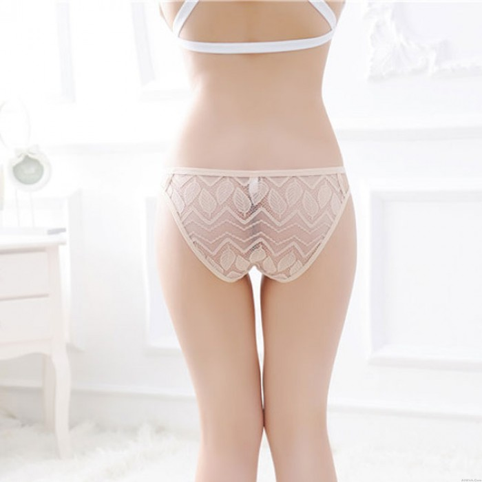 Sexy Lace Hollow Perspective Temptation Appeal Panties Leaves Low Waist Briefs Women Intimate Lingerie