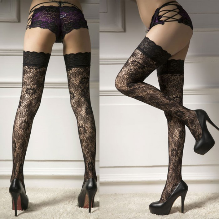 Sexy Jacquard Black Stockings Hollow Flowers Lace Side High Socks Lingerie