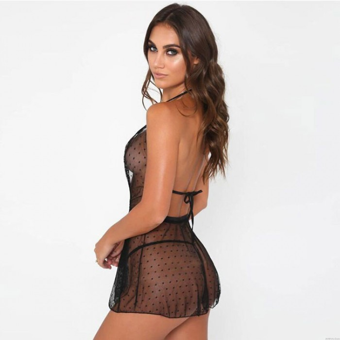 Sexy Mesh Dot V Sling Nightdress Lace Perspective Women Lingerie