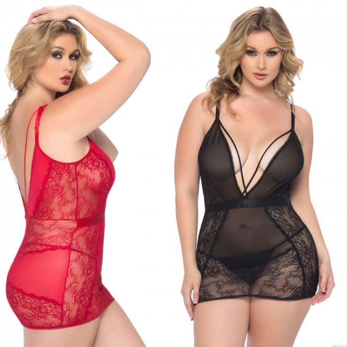 Sexy Sling Mesh Gauze Nightdress Large Size Female Lace Hollow  Intimate Lingerie