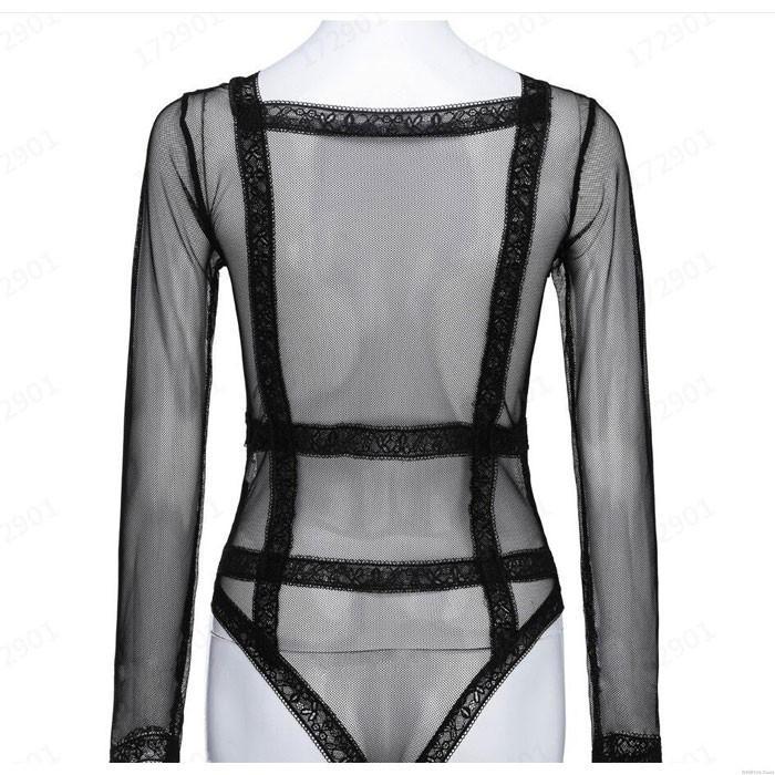 Sexy Mesh Hollow Bundle Long Sleeve Perspective Conjoined Intimate Lingerie