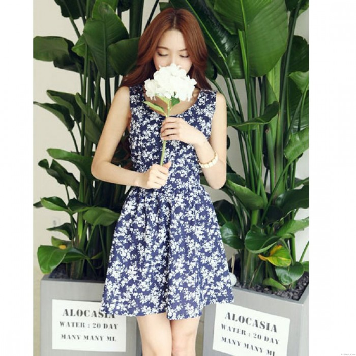 Fresh Floral Hollow Out Halter Bow Sleeveless Dress