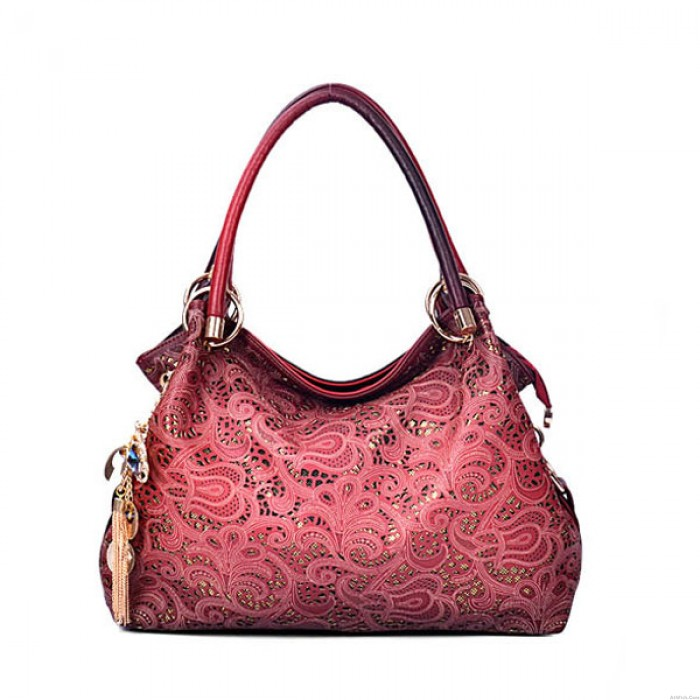 Retro Hollow Auspicious Printed Clouds Carving Handbag