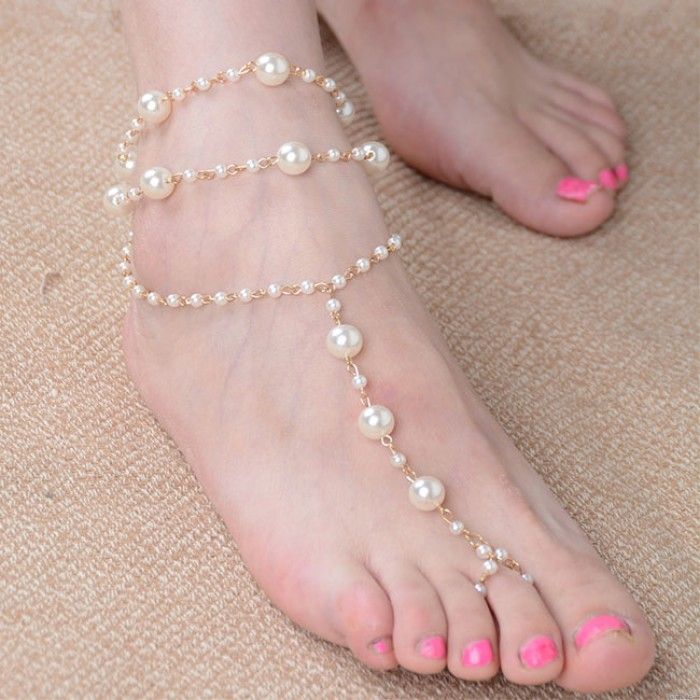Fashion Exquisite Pearl Fashion Handmade Beaded Anklet