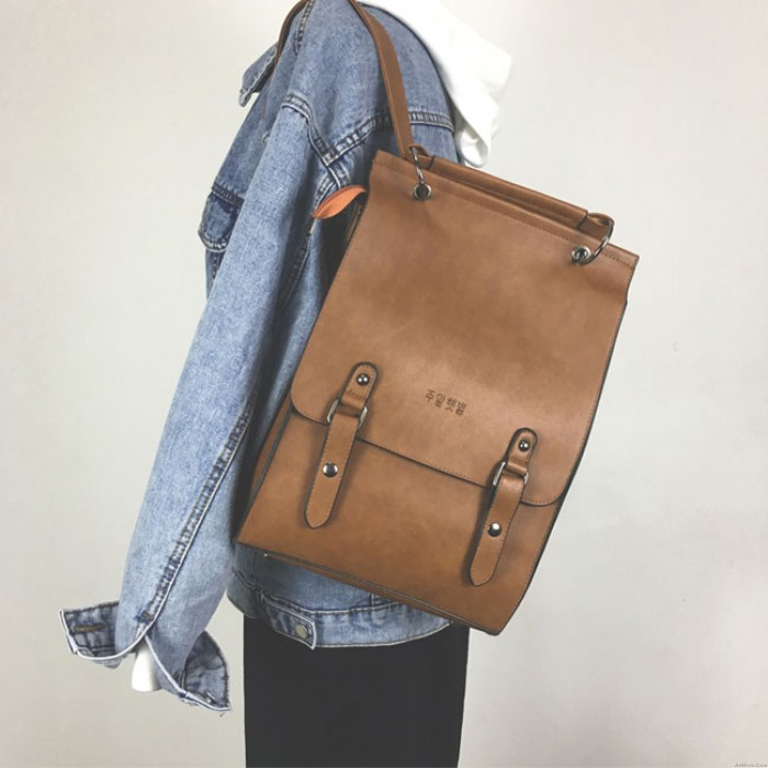 Retro Double Buckle British Style Large PU Bag Women Backpack