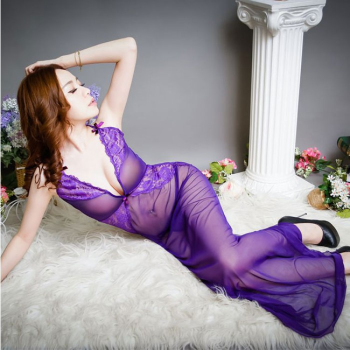 Sexy Temptation Charming Mesh Perspective Lace Nightdress Pajamas Intimate Lingerie