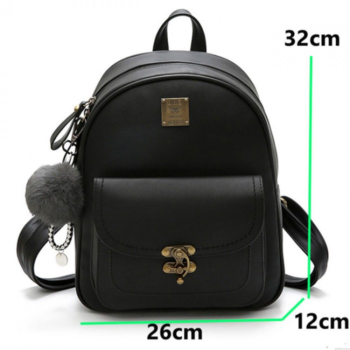 Leisure Lock Button Retro Pure Color Student Bag Women Backpack