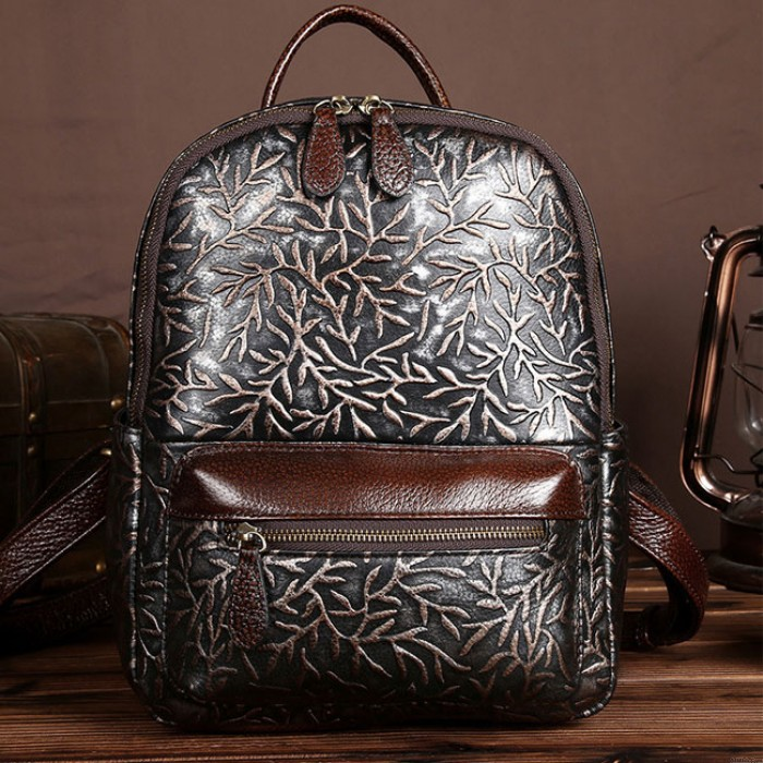 Retro Branch 3D Carved Real Leather Handmade Large College Backpack