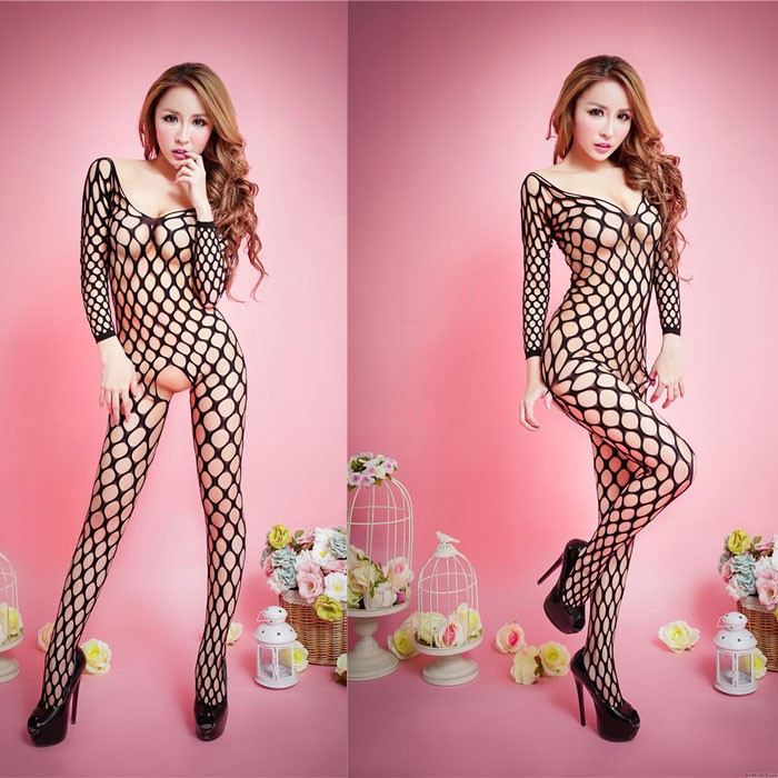 Sexy Long Sleeve Hollow  Fishnet Skinny Open Stocking Net Conjoined Lingerie