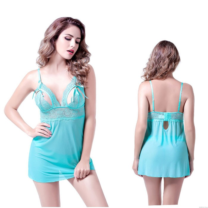 Sexy Mesh Pajamas Lace Nightdress Bow Sling Women's Lingerie