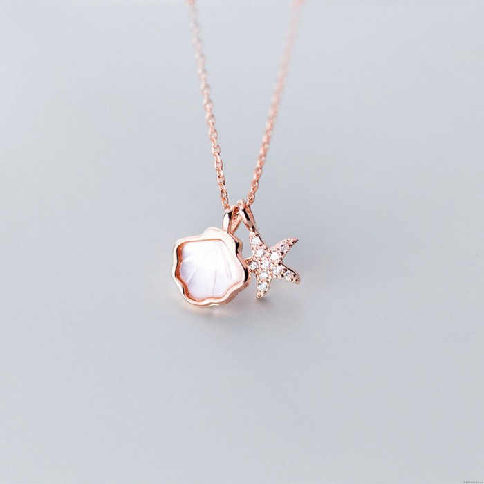 Fashion Shell Starfish Ocean Style Pendant Chain Clavicle 925 Silver Charm Women Necklace