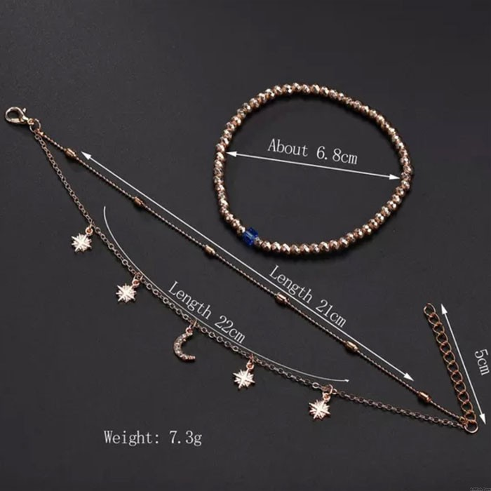 Fashion Summer Multi-layer Beaded Star Moon Women's Anklet