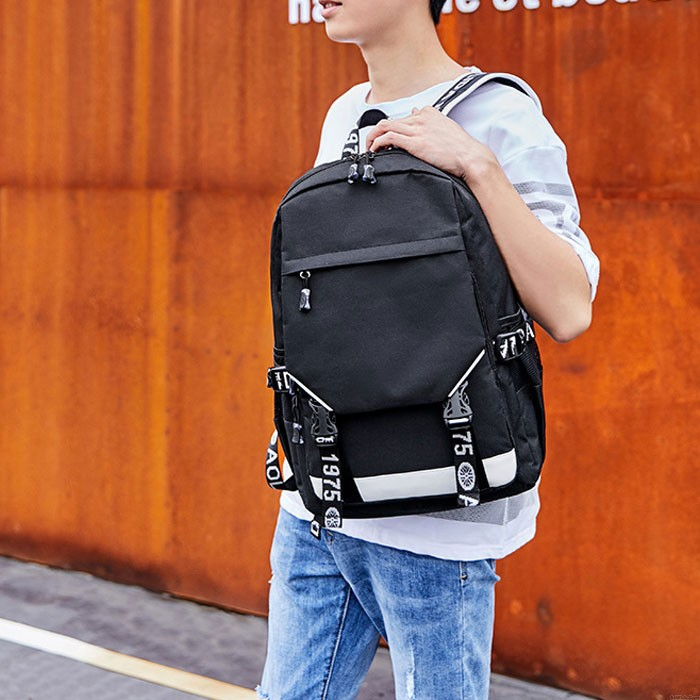 Leisure Black Oxford Double Buckle Large Capacity Outdoor Middle School Students Backpack