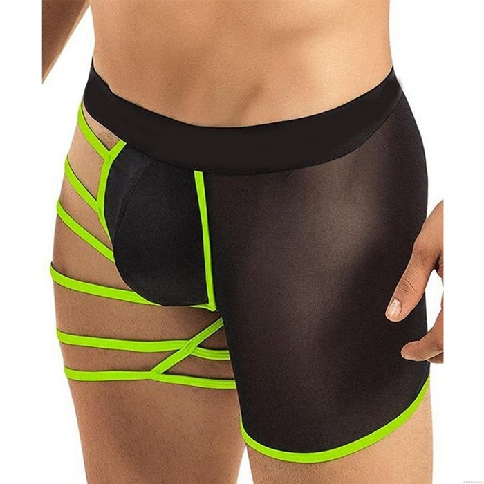 Sexy Hollow Out One Side Mesh See Through Boxer Briefs Underwear Men's Bandage Lingerie Shorts