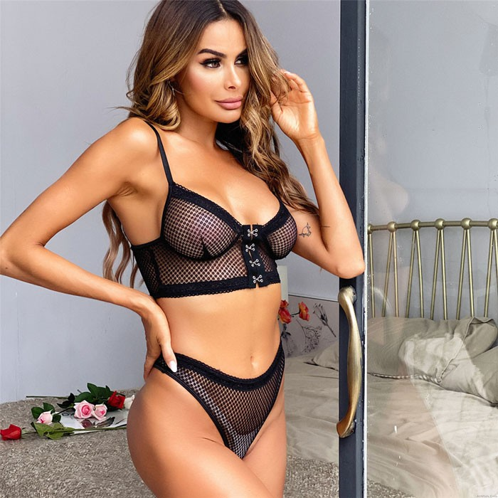 Sexy Black Comfortable Soft Lace Perspective Button Bra Set Intimate Women's Lingerie