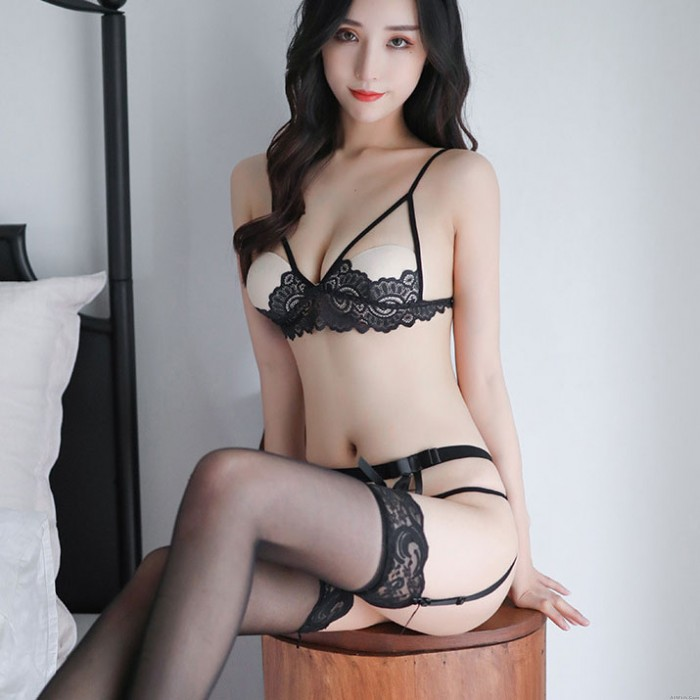 Sexy See Through Open Cup Bra Crotchless Panty Sets Woman Lingerie With Garter Belt Lace Lingerie