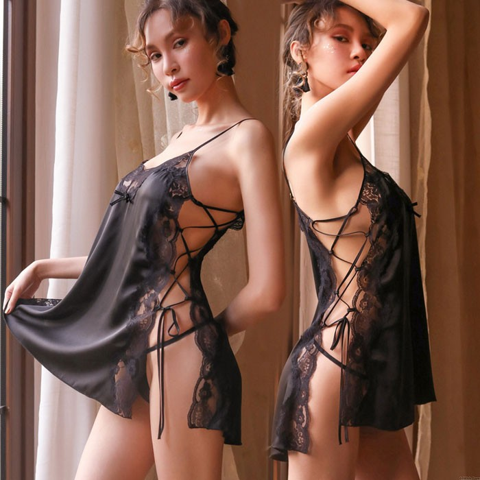 Sexy Chemise For Women Loose Side Bandage Hollow Lace-up Suspender Lace Nightgown Teenage Babydoll Strappy Lingerie