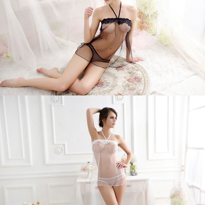 Sexy Mesh Perspective Lace Transparent Sling Nightdress Women's Lingerie