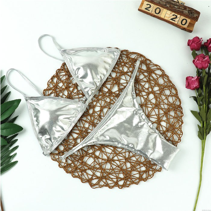 Sexy Silver Patent Leather Simple Bra Set Women's Lingerie
