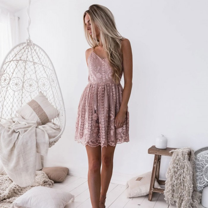 Fashion V-Neck Strap Pink Flower Lace Backless Sleeveless Skater Party Gown Dress