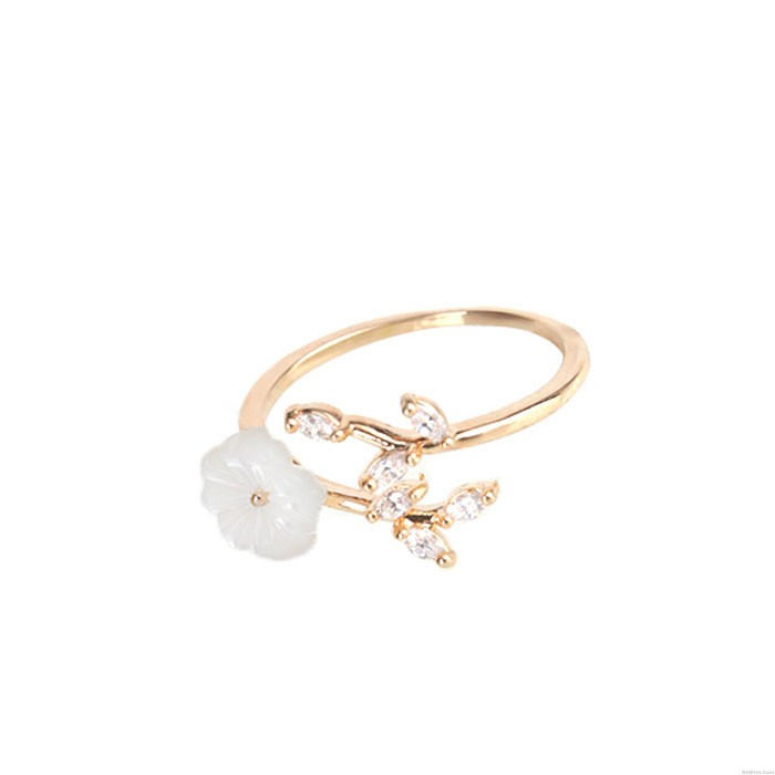 Unique Cherry Flower Shell Crystal Leaves Branches Women's Open Ring