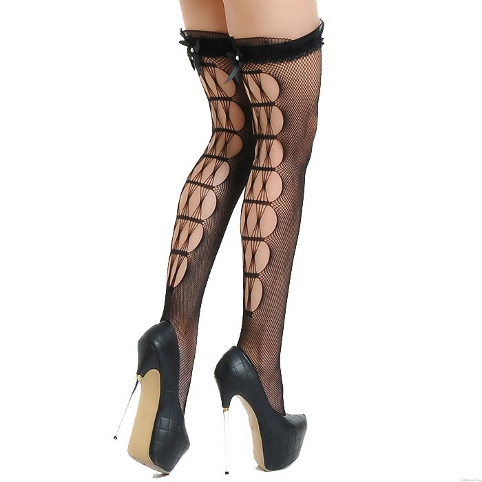 Sexy Black Lace Long-tube Fishnet Bow Stockings Anti-snag Christmas Non-slip Hollow Temptation Teenage Stocking