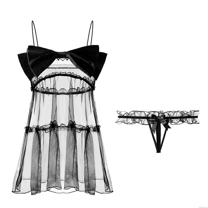 Babydoll For Women Bowknot Lace Temptation Mesh Skirt Chemise With Thong Nightdress Halter Sleepwear Lingerie