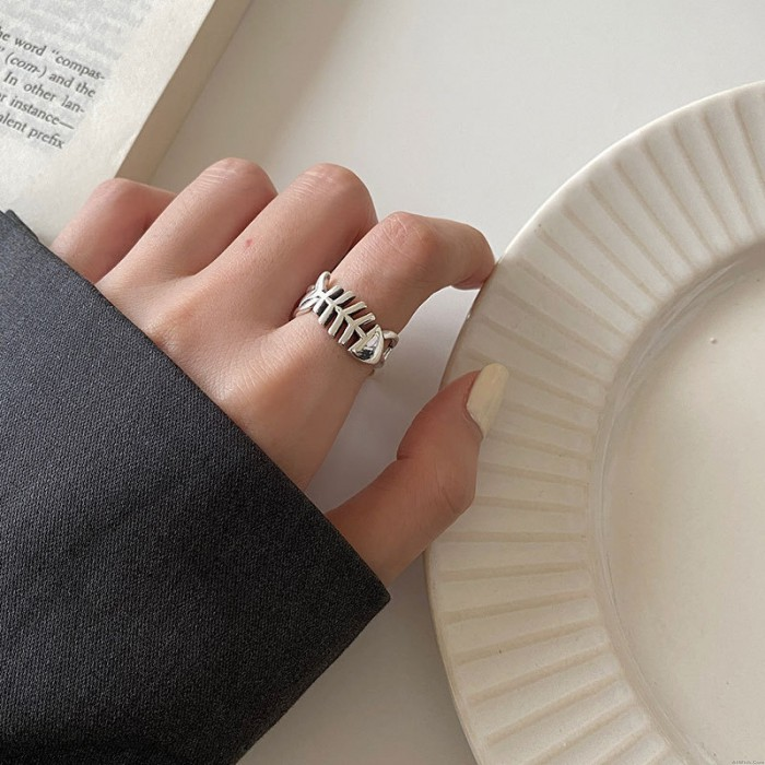 Retro Fish Bone Hollow Jewelry Gift For Her Silver Open Ring