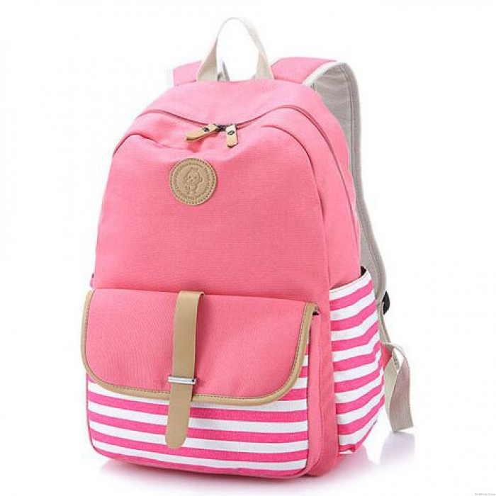 Simple Stripe Backpack Canvas School Bag Travel Bag