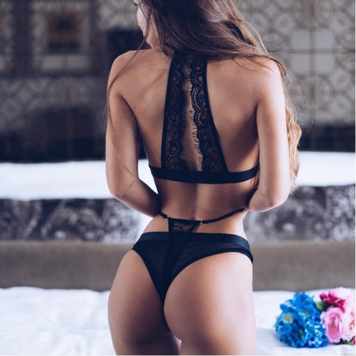 Sexy Mesh Black High Waist Sling Lace Bandage Bra Set Women Intimate Lingerie