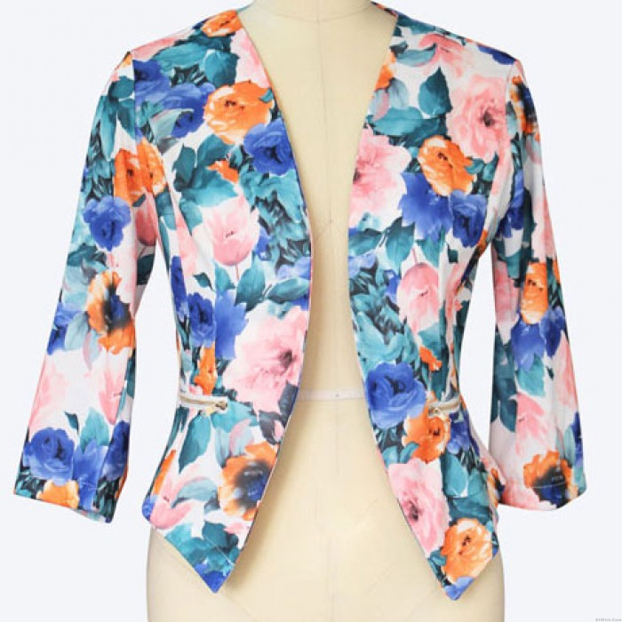 Floral Flower Printing Sweet Lady Long-sleeve Autumn Suit Jacket