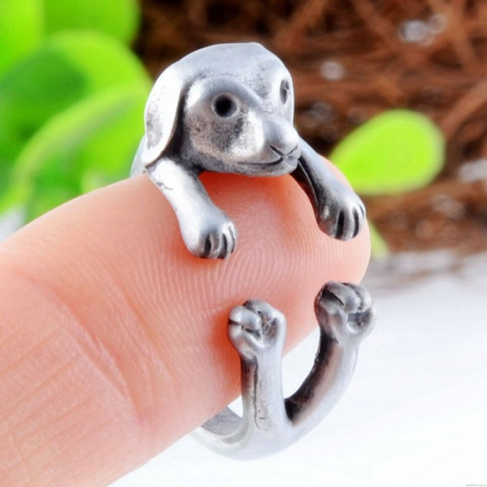 Lovely Big Ears Puppy-shaped Alloy Animals Opening Ring
