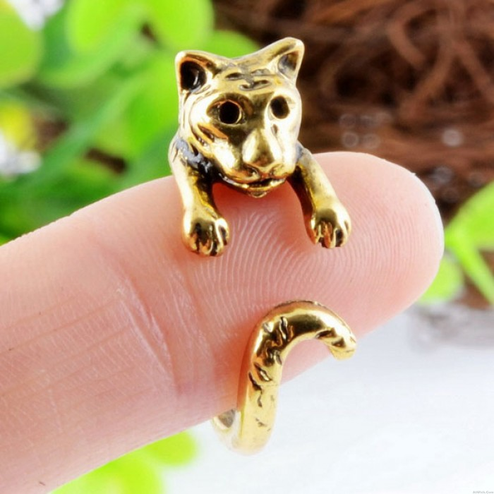 Lovely Animals Volume Tail Tiger Alloy Opening Ring