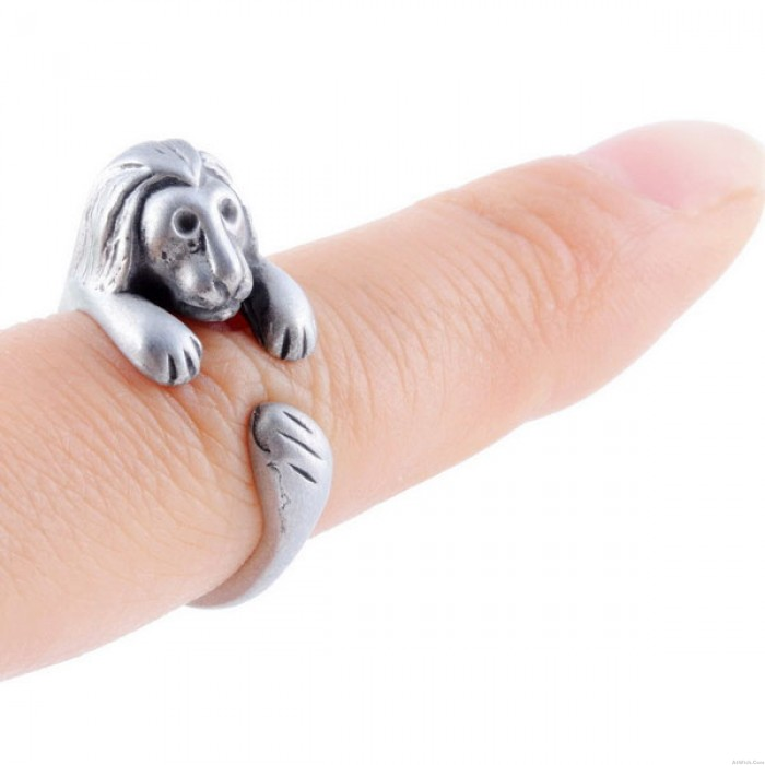Animals Ring Forest's King Lovely Lion Retro Silver Adjustable Wrap Ring