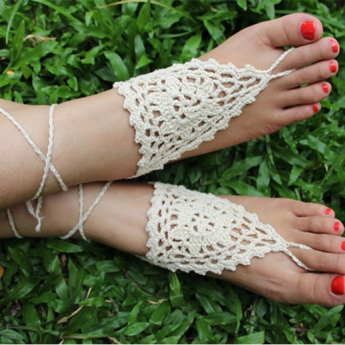 Handmade Barefoot Sandal Knitted Flower Foot Jewelry Beach Anklet Foot Chain