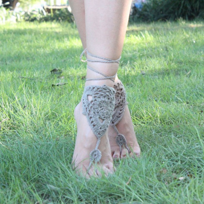 Crocheted Barefoot Sandal Knitted Cotton Foot Jewelry