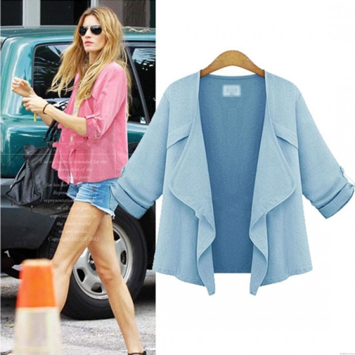 Solid Lapel Wavy Collar Leisure Rolled Sleeves Short Fashion Coat