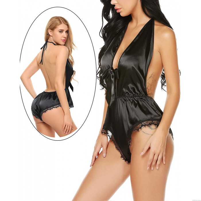 Sexy Deep V Teddy Sleeveless Rompers One Piece Halter Pajamas Jumpsuit Lace Satin Bodysuit Lingerie For Women