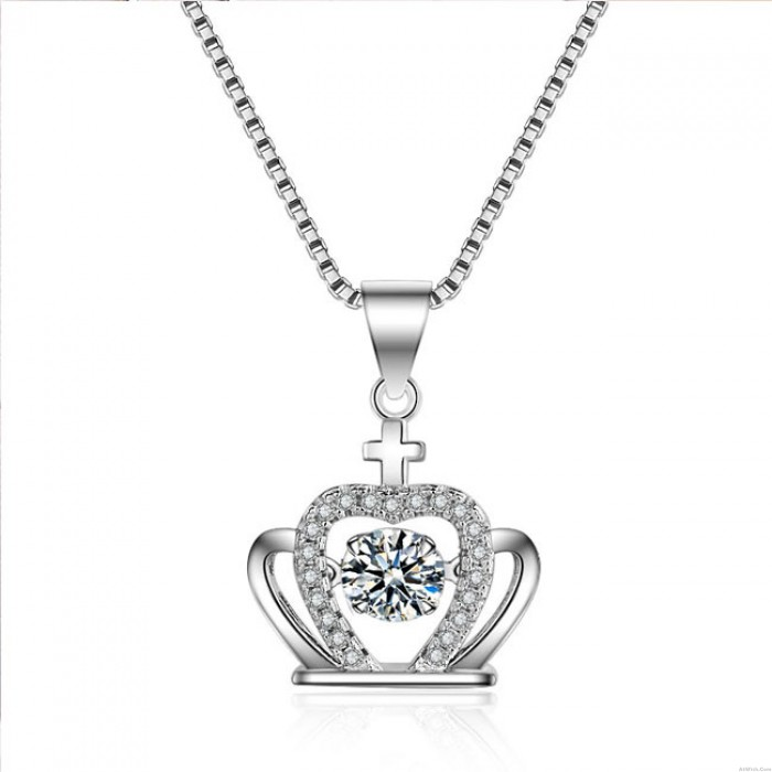 Fashion Crown Cross Silver Crystal Necklace Crown Diamond Women's Necklace