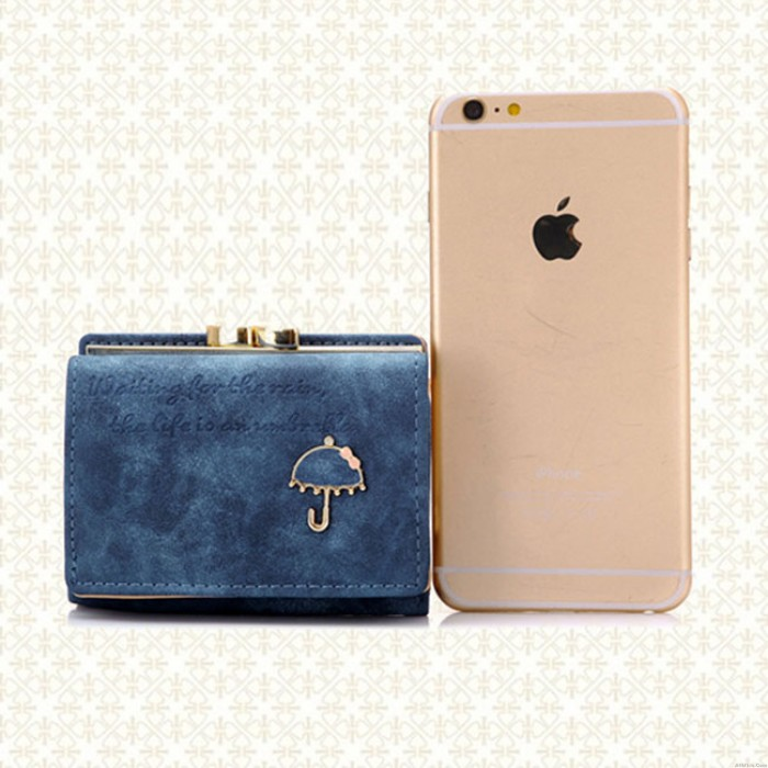 Fresh Frosted Small Umbrella Short Ladies Wallet Purse