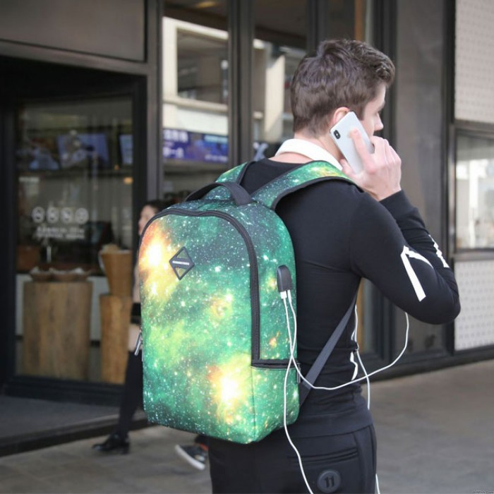 Unique Colorful Starry Sky School Bag Sport Backpack Galaxy USB Charging Business Backpack