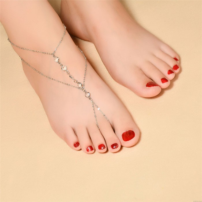 Leisure Crystal Beaded Foot Accessory Anklet Simple Beach Women Anklet